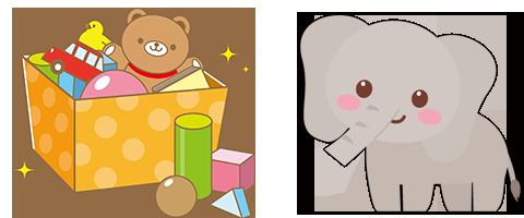 おもちゃ箱と動物のイラスト